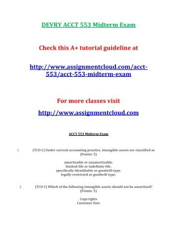 DEVRY ACCT 553 Midterm Exam
