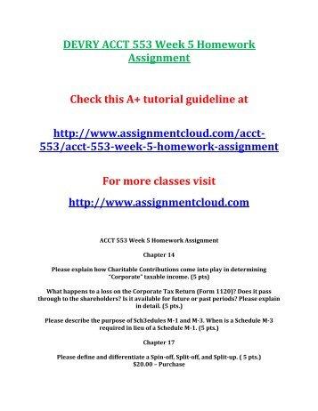 DEVRY ACCT 553 Week 5 Homework Assignment