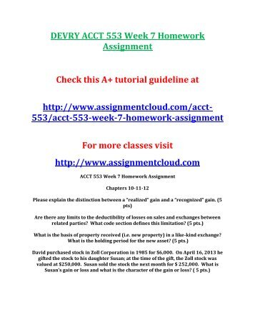 DEVRY ACCT 553 Week 7 Homework Assignment