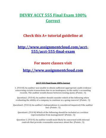 DEVRY ACCT 555 Final Exam 100