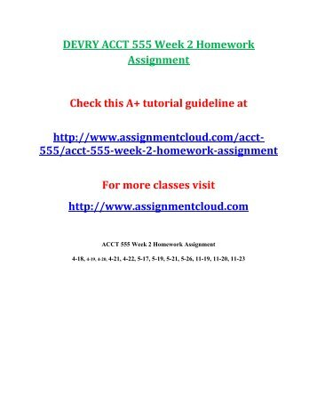 DEVRY ACCT 555 Week 2 Homework Assignment