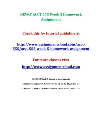 DEVRY ACCT 555 Week 5 Homework Assignment