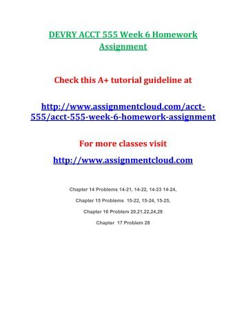 DEVRY ACCT 555 Week 6 Homework Assignment