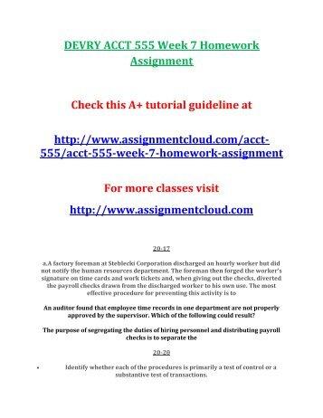 DEVRY ACCT 555 Week 7 Homework Assignment