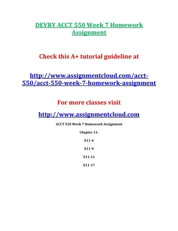 DEVRY ACCT 550 Week 7 Homework Assignment