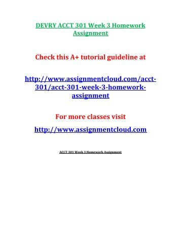 DEVRY ACCT 301 Week 3 Homework Assignment