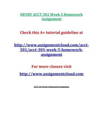 DEVRY ACCT 301 Week 5 Homework Assignment