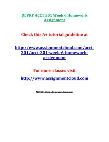 DEVRY ACCT 301 Week 6 Homework Assignment