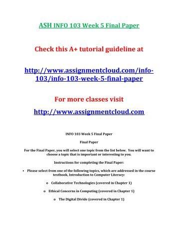 ASH INFO 103 Week 5 Final Paper