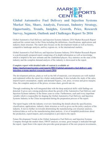 Automotive Fuel Delivery and Injection Systems Market Share & Forecast To 2016