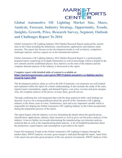 Automotive OE Lighting Market Size And Industry Analysis
