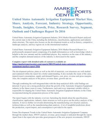 United States Automatic Irrigation Equipment Market Growth And Trends To 2016