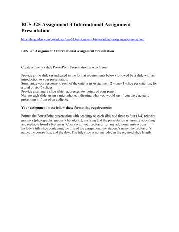 BUS 325 Assignment 3 International Assignment Presentation