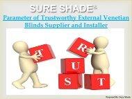 Parameter of Trustworthy External Venetian Blinds Supplier and Installer