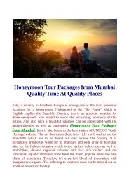 Honeymoon Tour Packages From Mumbai Visit Top Destinations.