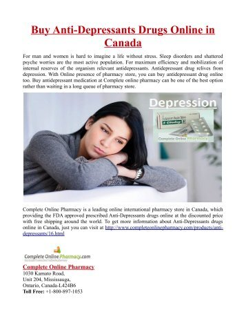Buy Anti-Depressants Drugs Online in Canada