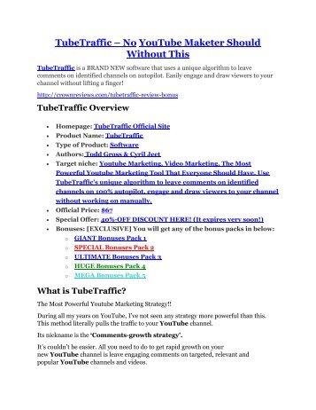 TubeTraffic review in detail and (FREE) $21400 bonus