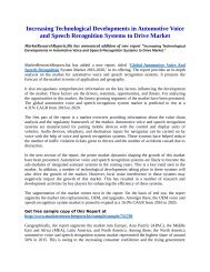 Automotive Voice and Speech Recognition Systems to Drive Market