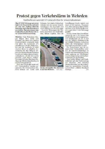 Protest gegen Verkehrslärm in Wehrden