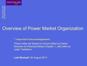 Overview of Power Market Organization