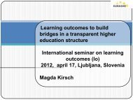 Learning outcomes to build bridges in a transparent higher - Cmepius