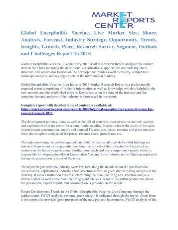Encephalitis Vaccine, Live Market Price and Gross Margin Analysis To 2016