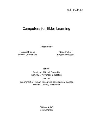Computers for Elder Learning - National Adult Literacy Database