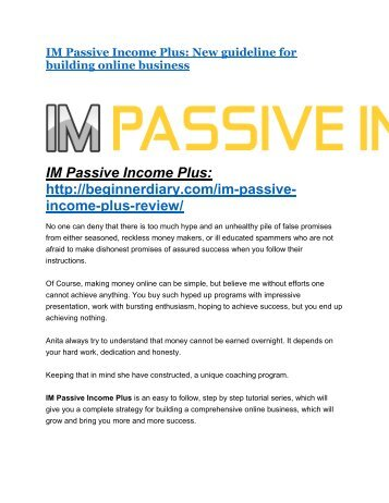 IM Passive Income Plus Review - IM Passive Income Plus DEMO & BONUS