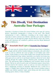 Australia Tour Packages - Key Destinations You Must Visit
