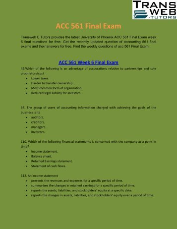 ACC 561 Final Exam - ACC 561 Week 6 Final Exam Answers - Transweb E Tutors