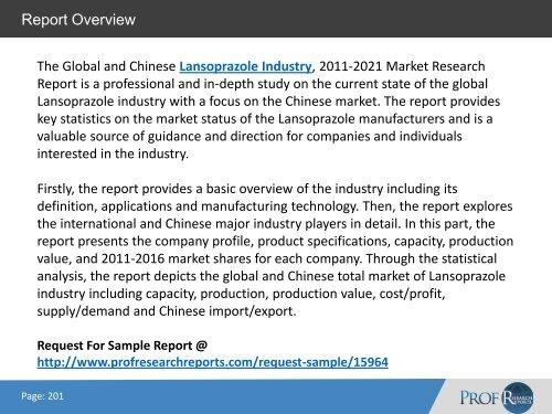 Lansoprazole Industry, 2011-2021 Market Research