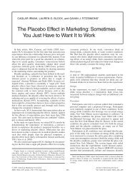 The Placebo Effect in Marketing - Zicklin School of Business