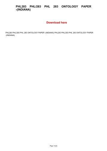 PHL283 PHL/283 PHL 283 ONTOLOGY PAPER -(INDIANA)
