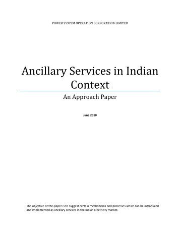 Approach Paper on Ancillary Services in Indian Context - NLDC