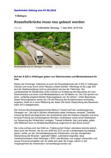 Auf der A 620 in Völklingen gelten nun Überholverbot und Mindestabstand für Lkw