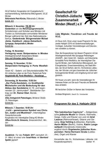 Programm 2-2016 der GCJZ Minden e.V.