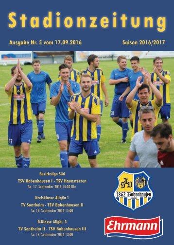 20160917 Stadionzeitung TSV Babenhausen - TSV Haunstetten