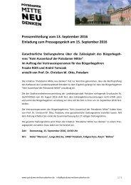 PM zum Rechtsgutachten zur Rechtsgültigkeit des Bürgerbegehrens Kein Ausverkauf der Potsdamer Mitte.