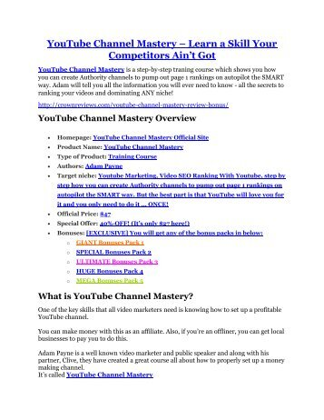 YouTube Channel Mastery Review - 80% Discount and $26,800 Bonus