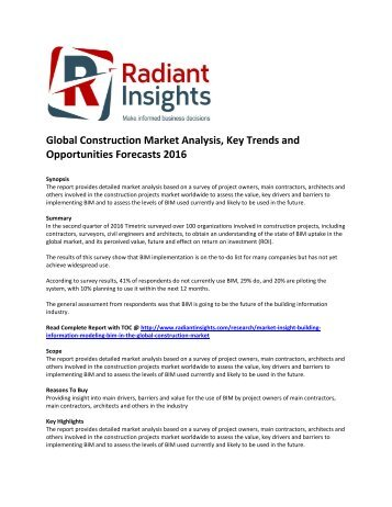 Global Construction Market Size, Share, Growth, Analysis, Key Trends and Opportunities Forecasts 2016