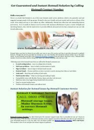 Hotmail Solution by Calling of Hotmail Contact Number