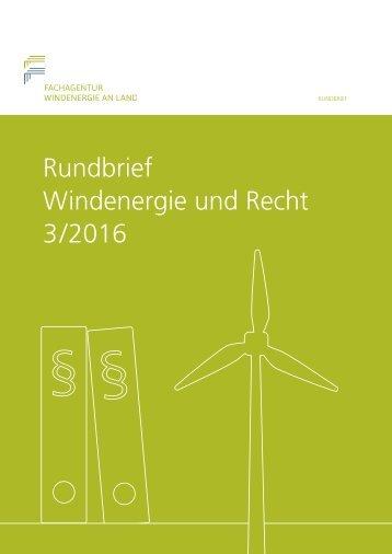Rundbrief Windenergie und Recht 3/2016