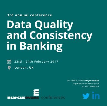 3rd Annual Data Quality and Consistency in Banking Conference promo