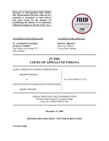 Gary Community School Corporation v. Lolita ... - State of Indiana