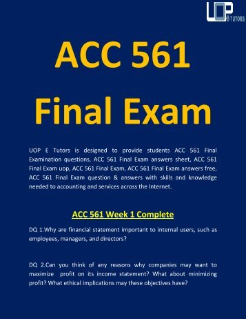 ACC 561 Final Exam | ACC 561 Final Exam Questions and Answers - UOP E Tutors