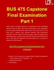 BUS 475 Capstone Final Exam Part 1 Answers | UOP E Tutors