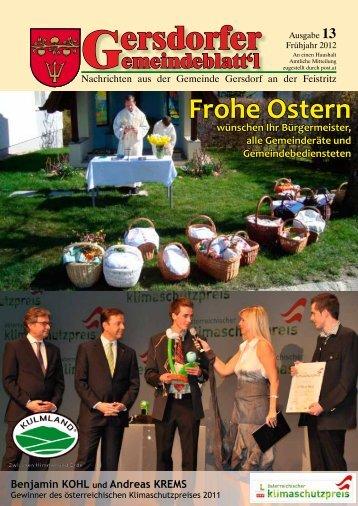 Gemeindegeschehen Die - Gemeinde Gersdorf an der Feistritz
