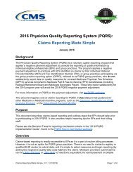 2016 Physician Quality Reporting System (PQRS) Claims Reporting Made Simple