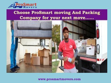 Moving Company Washington DC| ProSmart Movers & Movers in Stamford CT