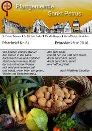 Pfarrbrief Nr. 61 - Erntedankfest 2016